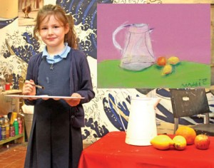 Pg 4 Winning Draw Maddie Hayes pictured with her still life arrangement