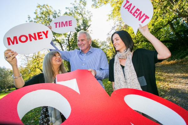 Picture shows from left ; Rise Foundation CEO, Frances Black; Rugby pundit, Brent Pope; and singer Edele Lynch ; at the Launch of National Giving Week from the One Percent Difference Campaign. Pic: Naoise Culhane