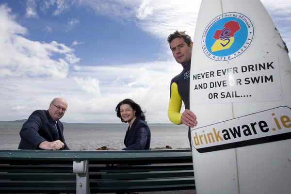 Pictured highlighting the dangers of mixing alcohol with water based activities are Phil Hogan TD, Minister for the Environment, Community and Local Government, Fionnuala Sheehan, CEO, drinkaware.ie and Bundoran surfer Richie Fitzgerald. Picture by Shane O'Neill / Fennell Photography  Copyright 2013