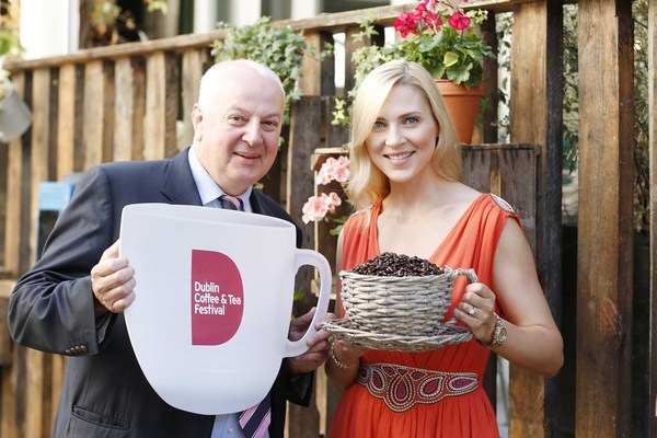 CEO of Insomnia, Bobby Kerr with model Sarah McGovern at the announcement of the Dublin Coffee & Tea Festival. Pic: Conor Healy Photography