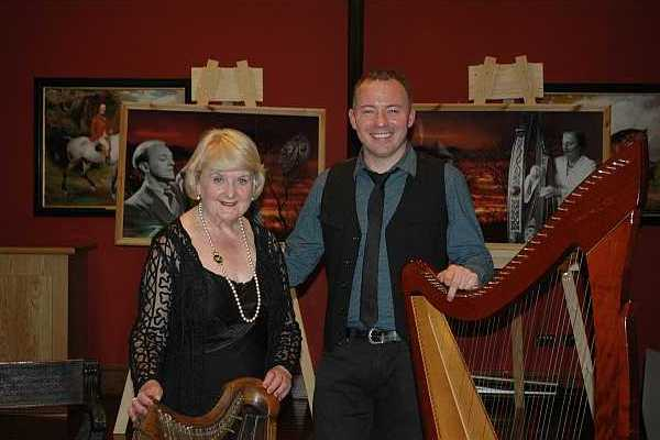 "Glynis Casson and Cormac de Barra when they performed ""The Harp that Once"" in Castletown House for Heritage Week. Pic: Glynis Casson"