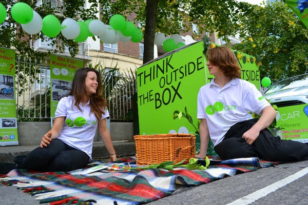 Picnic spot by GoCar on Barrow Street in 2013. Pic: Dublin PARK(ing) Day