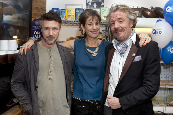 Actor Aidan Gillen joins Venetia Quick and Martin Thomas at the launch of their Artisan Parlour & Grocery in Ringsend Village. Photo: Peter Houlihan