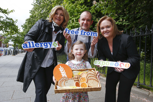 Siena Stokes (5 years old) of South Circular Road, Dublin with Jeannette Brazel of the Irish Skin Foundation, Eddie Eriksson, chef with whole food and vegetarian restaurant, Cornucopia and Susan Doyle, Business Development Director of the Allergy and Free From Expos.  Pic: Conor McCabe Photography.