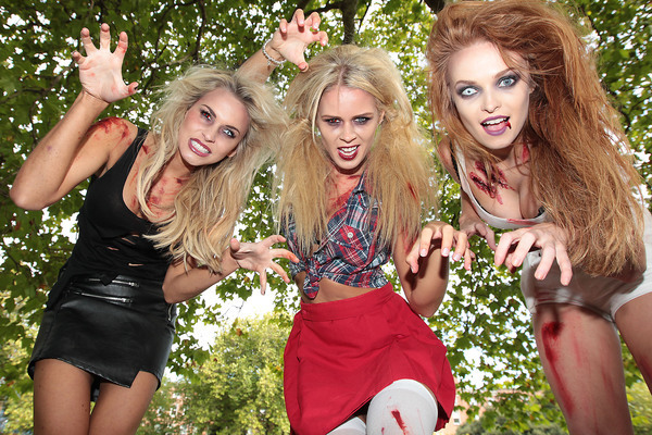 Models Sinead Duffy, Karena Graham and Aoife Walsh at the launch of Ireland's first Zombie Infested 5k Adventure Race. Pic: Brian McEvoy