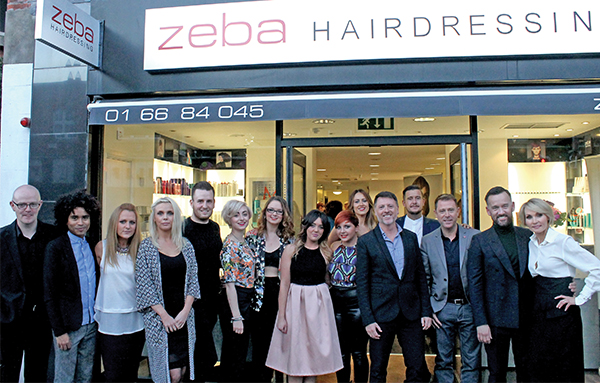 Brendan Courtney with the staff of Zeba Hair Salon, Sandymount for the launch of their Autumn/Winter Showcase.