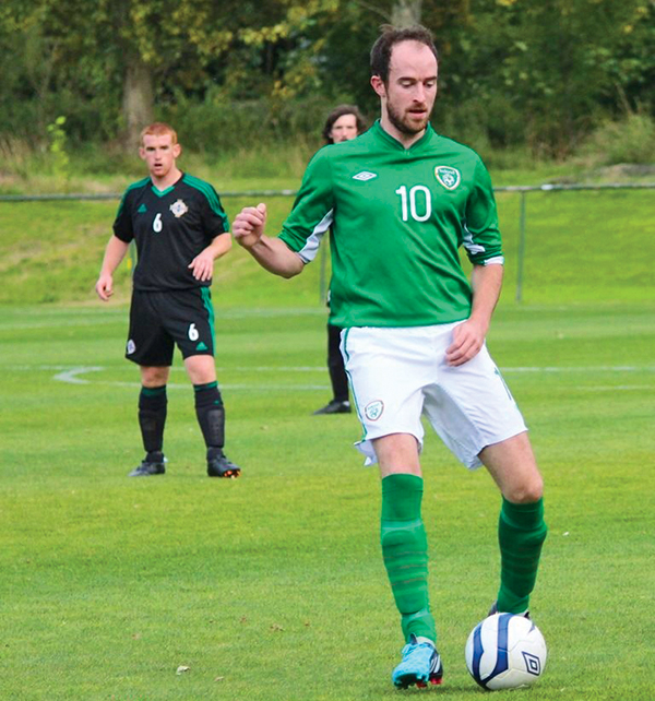 Pictured: Thomas Dunne helps the amateur Irish team to qualify for the UEFA regions cup finals.