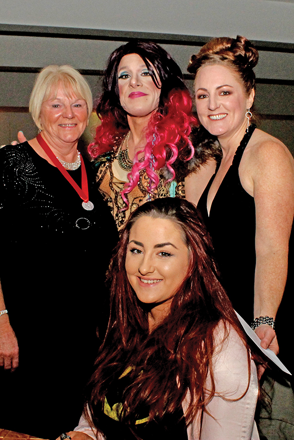 At the Black Tie Bingo Night held in Clanna Gael, Karen Keegan with her Mum and Daughter and Shirley Temple Bar.