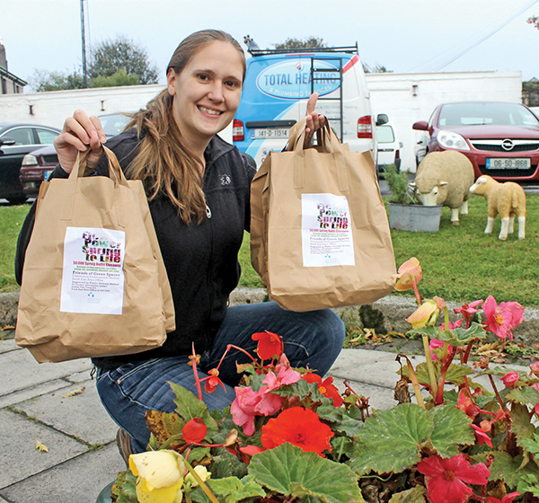 Pictured: Corinne Sands from the International School Dublin picks up a few bags for the students.
