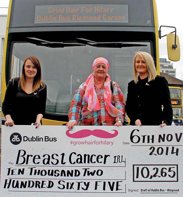Pictured:  Samantha Mc Gregor and Aishling Hurley from Breast Cancer Ireland with Hilary, centre.