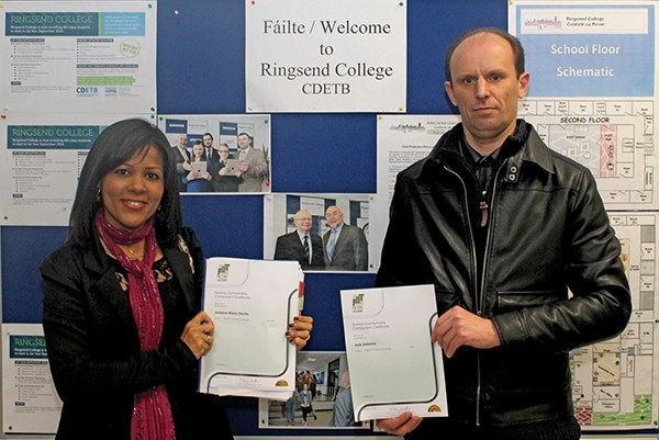 Pictured: Graduates Josiane Maria Devlin and Juris Lieknins at Ringsend College Adult Education Graduation.