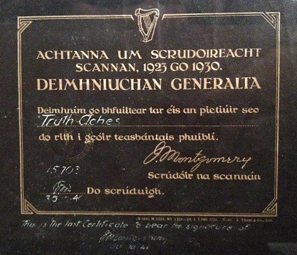 Above: The censor's cert which had to be shown before every film.