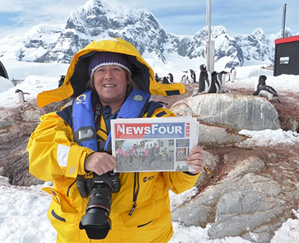 Pictured: Moira Lawson  with her NewsFour in the chilly surrounds of Antarctica
