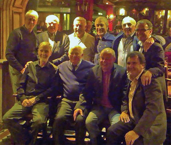Above: Back row, from left to right: Mick Byrne, John Keogh, Pat Byrne, Mick Lawlor, Paddy Mulligan, Pat Fenlon (current manager) Front row, from left to right:   Mick O'Connell, Mick Kiernan, Robbie Gaffney, Mick Leech. Photo courtesy Teresa Beausang.