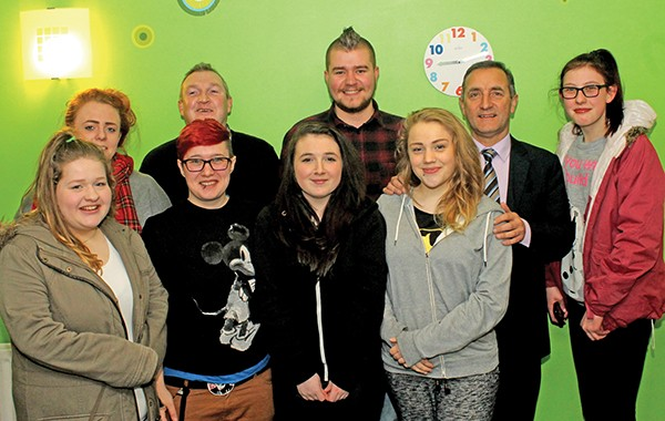 Pictured: Eoin Mulville (centre) with the members of the youth club.