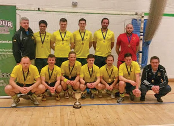 Pictured left, back row, left to right: Paul O'Brien (Coach) Miguel Villar, Richard Forrest, Mark English, Nicolas Wilmshofer and Simon Thornton. Front Row: Kenny Carroll, David McCarthy, Rob Abbott (Captain), Mateus Nowakowski, Kevin King, James Dick and Bruce Thompson (Manager). Image supplied by David Carroll.