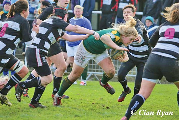 Pictured: Cliodhna Moloney of the Railway Women's Rugby Team who beat Old Belvedere 43-7 in the opening game of the All Ireland Cup. Photo by Cian Ryan.