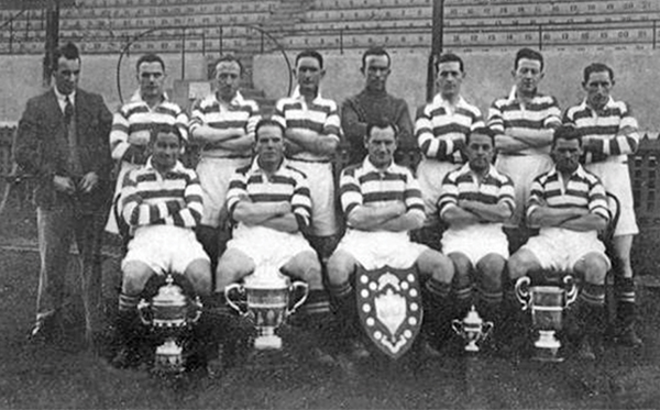 Pictured: The 1935-36 Shamrock Rovers Team pictured at Milltown. Babby Byrne is the player standing at back and far left.