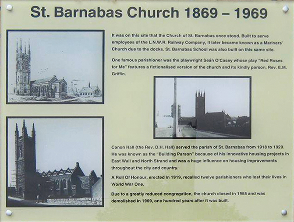 East Wall History update 4 - st barnabas site plaque