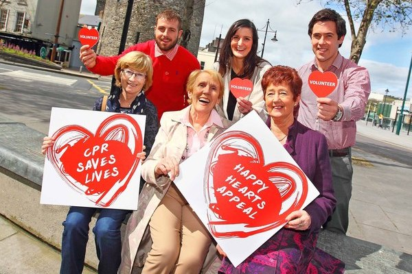 Waterford Senior Hurling stars Noel Connors and Jamie Nagle pictured supporting the Happy Hearts Appeal with Tracy Power, Regional Manager, Irish Heart Foundation and volunteers Teresa Byrne, Angela Hawkins and Bríd Cheevers. Pic: Irish Heart Foundation