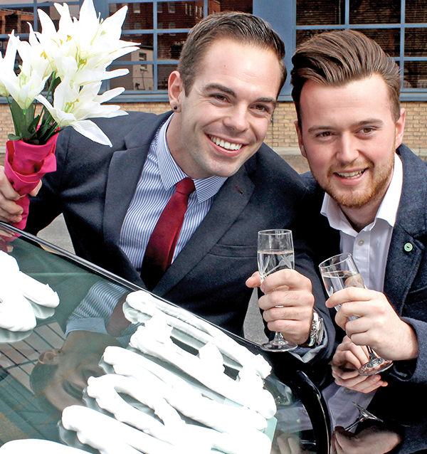 Pictured Above: Two same sex students pictured at a recent equality event held at the registry office of Sir Patrick Dun's Hospital, Grand Canal Street, D2.