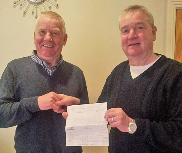 Pictured: John and Patrick Healy, who were presented with a cheque from Eirgrid.