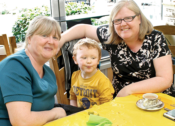 Pictured Above: Taking part in the Daffodil Day (March 27th) coffee morning in Cambridge Court were Bernadette Egan, Jack Egan and Katriona Boland.