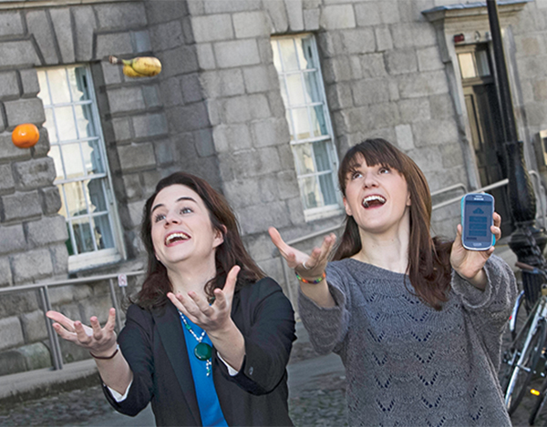 Crowdfunding launch at Trinity College Dublin. Pictured are: Aoibheann O' Brien, with Iseult Ward Co-Founders Foodcloud. Picture Colm Mahady / Fennell Photography .