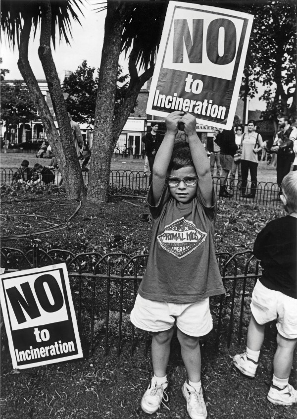Pictured Above: A young anti-incinerator protester back in the summer of 1995. Photo: Kim Haughton.