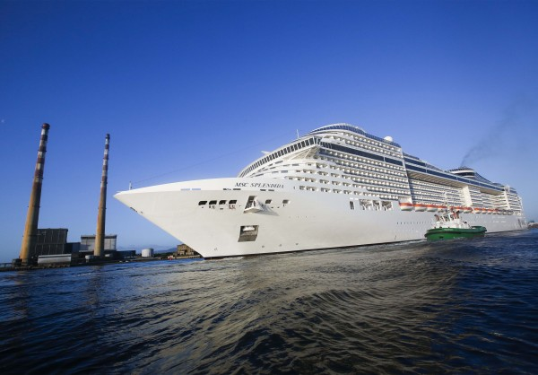 MSC Splendida became the longest ever ship to enter Dublin port when it arrived on Monday 11th May carrying 4,600 passengers and crew. Image courtesy of Conor McCabe.