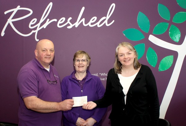 Pictured: Pastors David and Helen Smyth present Suzanne Mc Cabe from Focus Ireland with the cheque.