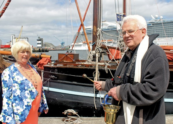The annual Blessing of the Boats ceremony was held on Sunday May 24th at the Poolbeg Marina. Pictured are Alice Foley and Fr Ivan Tonge.