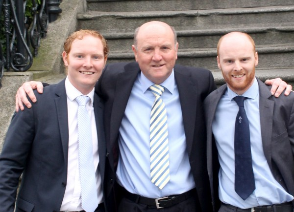Pictured: John with his sons Gerald and Oisin Loughran.