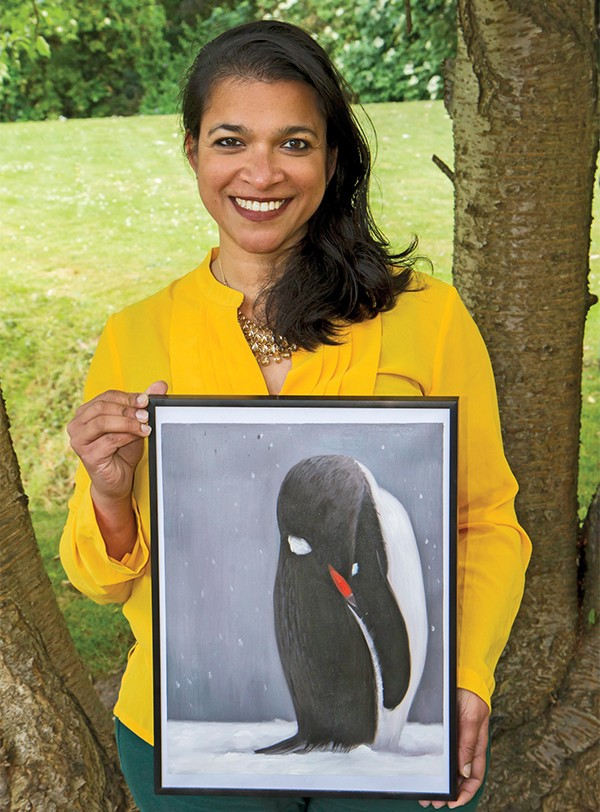 Pictured Above: Kritika Ashok and the myartgallery.ie penguin