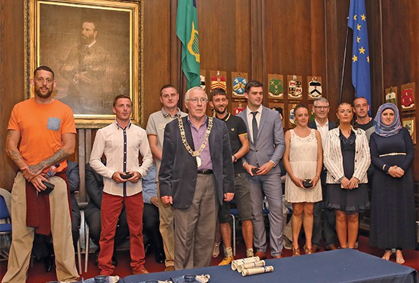 Pictured Above: Lord Mayor Christie Burke presents Spellman Centre special achievement awards to the RDRD graduates.