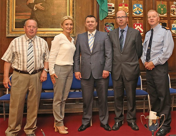 Pictured Above: Thomas Crilly, Chairperson of RDRD, Teresa Weafer, Manager of RDRD and Spellman Centre, Pat Ward, Michael Sheery of Dublin Port Company, Superintendent Gerry Delmar all pictured at the Spellman Centre awards held in the Mansion House.