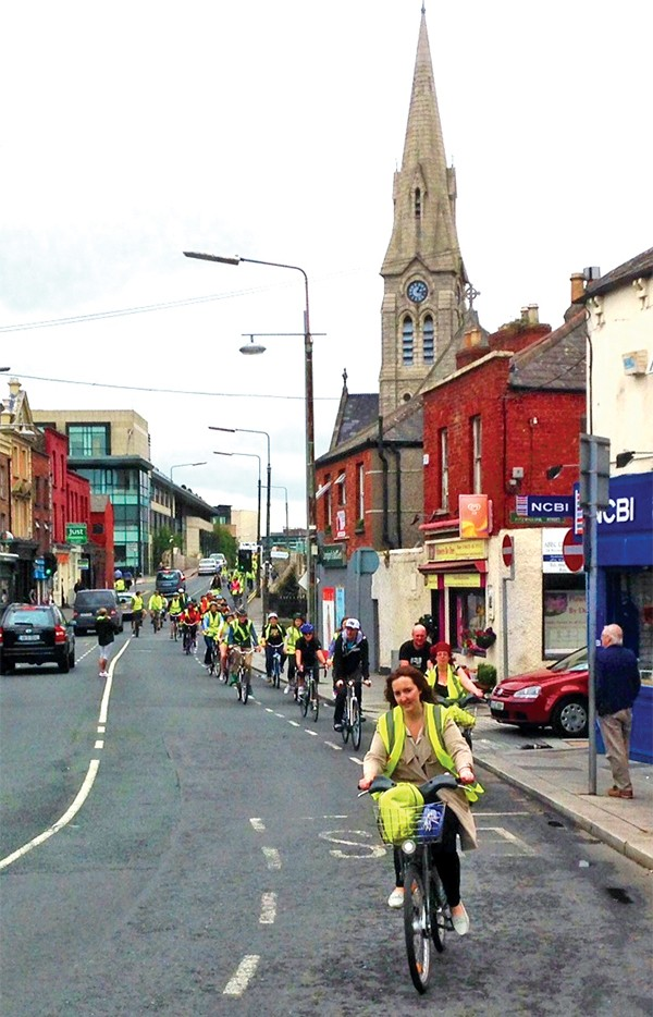 Pictured Above: Lunchtime Cyclists passing through Ringsend.