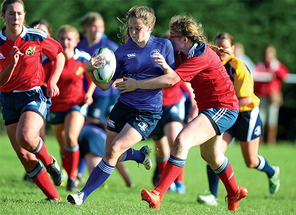 Pictured: Railway Union's Stacey Flood representing Leinster U-18s against Munster, 2014. Image courtesy of inpho.ie