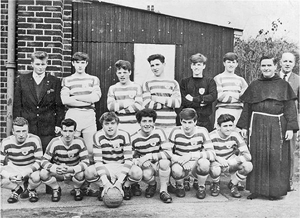 Above: Brugh Padraig Boys pictured on a 1964 trip to Manchester. Back: Eamonn Thomas (youth leader), Michael McDonald, Paddy Knut, Brian Murtagh, Pat Smith, Noel Murray, Father Ignatius and Mick O'Keefe. Front row: Derek Lawless, Tony Doyle, George Molloy, captain Larry Murphy, Noel Donovan and Eddie Barter.