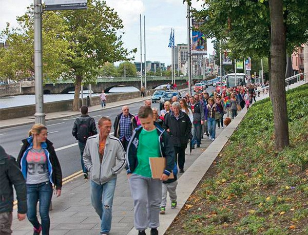 Pictured Above: The Recovery Walk returns to Wood Quay (Photo by Ray Hegarty).