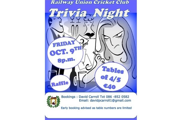 Railway Union Cricket Club Trivia Night