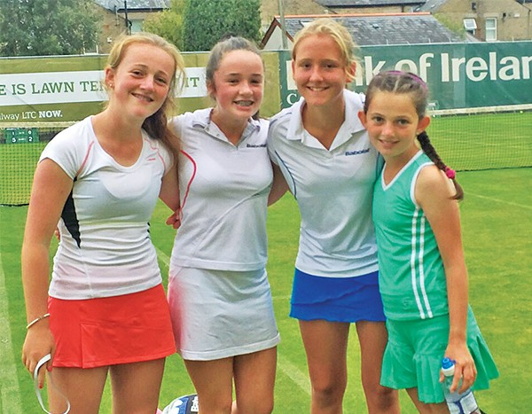 Above: Girls U14 Doubles Final – Emily McAlinden, Sarah Crowe, Sarah Forbes and Kate McAlinden. Images supplied by Claremont Railway Lawn Tennis Club.