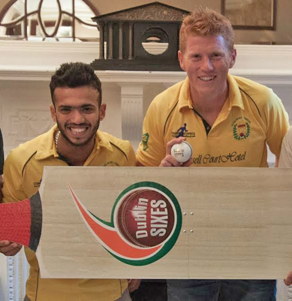 Above: Railway Union's Kevin O'Brien and Rachit Gaur at the Official Launch of the 'Dublin Sixes' held at Russell Court Hotel. Rachit was voted 'Player of the Season' at Railway Union for his all round performances. Photo courtesy Arthur Deeney.