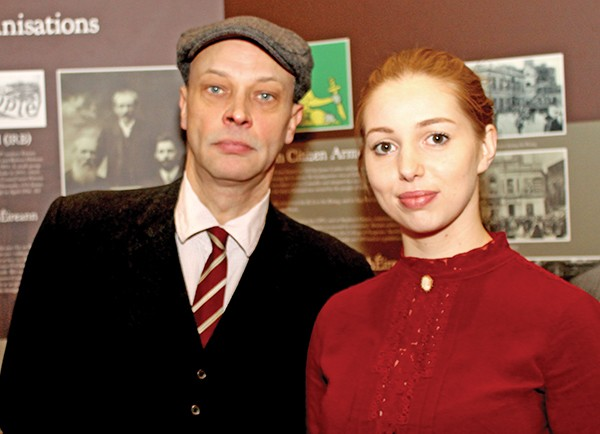 Pictured: Actors dressed in period costume Seána Kerslake and James Barry.