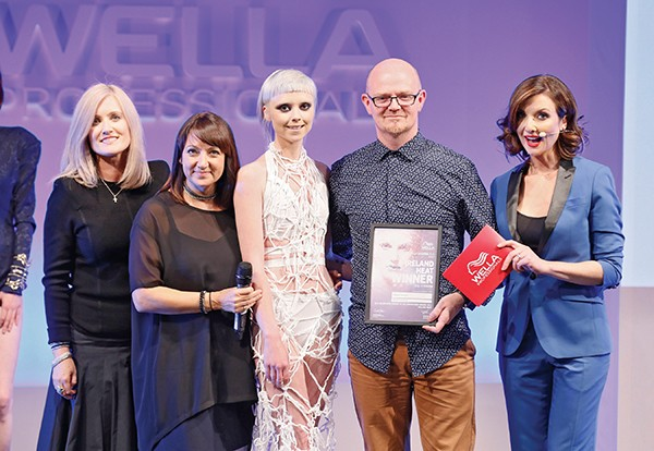 Above: ColorVision Winner Ciaran Cannon of Zeba Hairdressing, Dublin with his model and host Jennifer Maguire at the Wella TrendVision Award 2015 Ireland Heat at DoubleTree by Hilton. Photo: Kieran Harnett