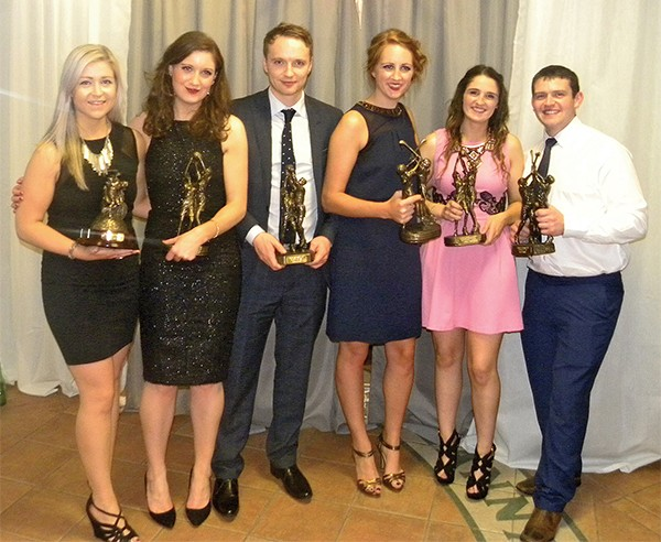 Pictured: Club Award Winners,Catherine Smith (Captain, Junior Ladies Footballers, Team of the Year); Emer Kelly (Junior Ladies Footballer of the Year); Barry Noonan (Footballer of the Year); Sinead O'Sullivan (Camogie Player of the Year); Rachel Byrne (Senior Ladies Footballer of the Year); Stephen Coleman standing in for Garry O'Connor (Hurler of the Year).