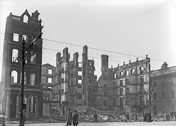 Pictured Above: The ruins of O'Connell Street in the aftermath of the rising – courtesy of Conor McNamara.