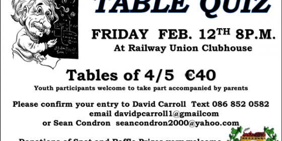 Railway Union Table Quiz