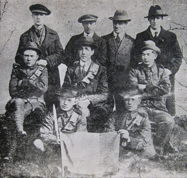 Pictured: The nine survivors of the Mount street battle, Back row: Seamus Grace,Michael Byrne,Joe Clarke, Patrick Roe. Middle row: Willie Ronan, Pat Doyle,James Doyle. Front Row: Jim Walsh, Tom Walsh.