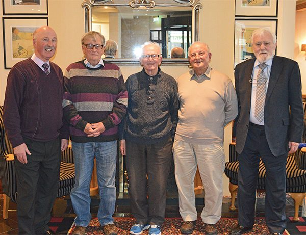 Pictured: Some former members organising this event, left to right: Pat Carroll, Eamonn Thomas, Jimmy Purdy, Michael McDermott and Henry Kelly at the Alexandra Hotel.